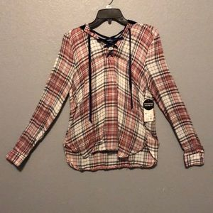 Plaid lace up shirt with hoodie